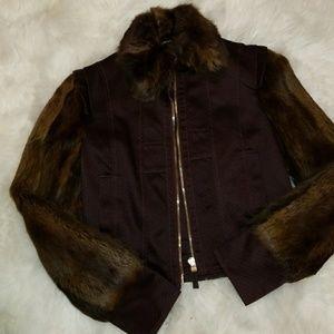 NWT Christian Weber Fur and sleeve collard jacket